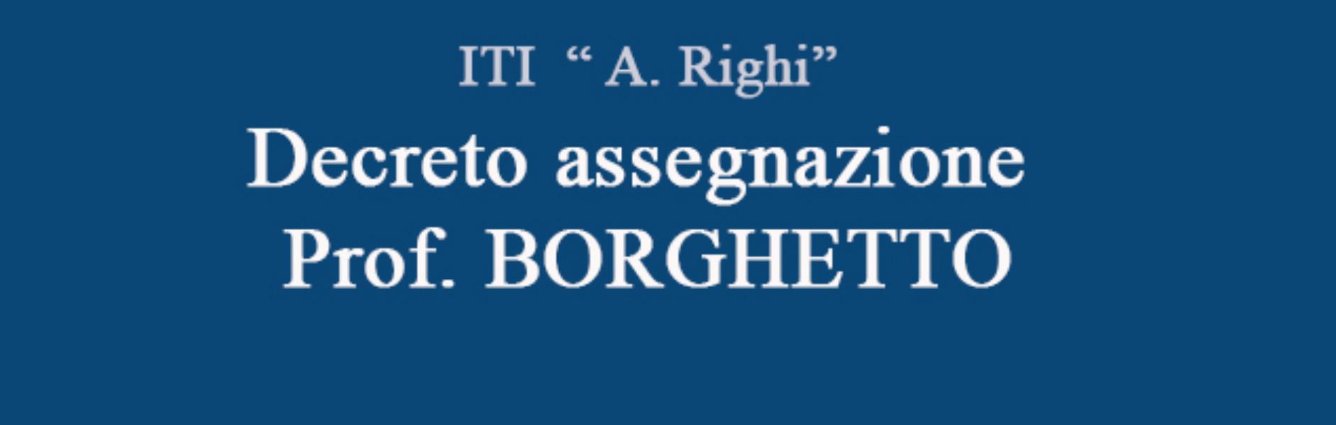 Decreto assegnazione Prof. BORGHETTO